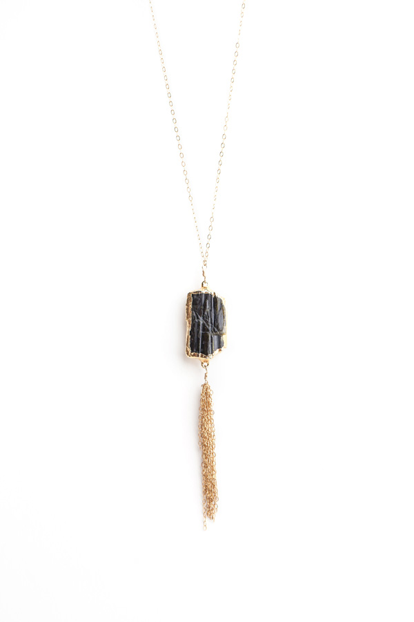 Raw Turmaline Tassel Necklace by SabinaJewelry.com - $150