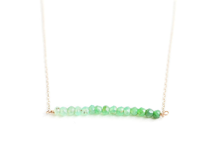 Chrysoprase Ombre Bar Necklace by SabinaJewelry.com - $50