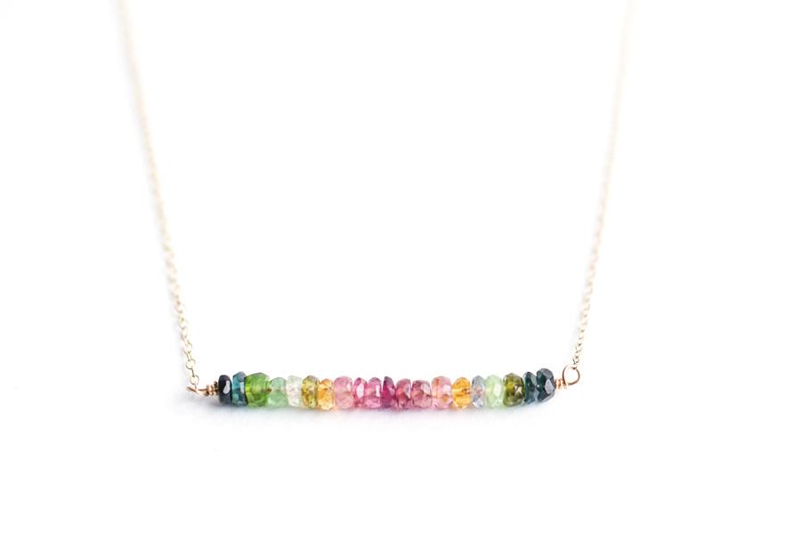 "Rainbow Turmaline ""Maureen"" Bar Necklace by SabinaJewelry.com $55"