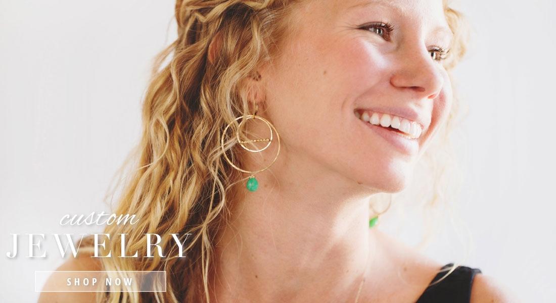 Girl wearing Custom Earrings that are interchangeable- SABINAJEWELRY.COM