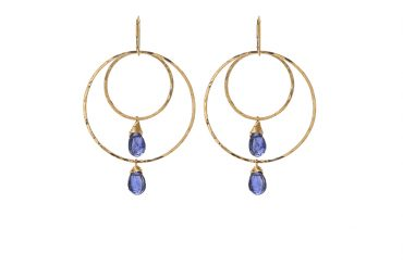 Double Gold Hoop with Iolite Gems. SABINAJEWELRY.COM