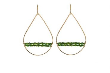 Tear Drop hammered gold hoops with Green Tourmaline Stones. SABINAJEWELRY.COM - Interchangeable jewelry gives you the ability to create your own endless styles, and to mix-and-match your jewelry piece. With a simple interchangeable lever-back, earrings can be made into necklaces and piled onto each other to create different styles.