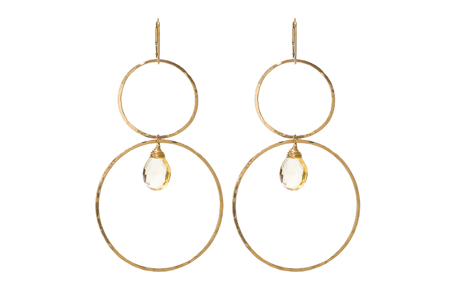 Gold hoops With Citrine drop Stone Trifecta Earring. SABINAJEWELRY.COM - Interchangeable jewelry gives you the ability to create your own endless styles, and to mix-and-match your jewelry piece. With a simple interchangeable lever-back, earrings can be made into necklaces and piled onto each other to create different styles.