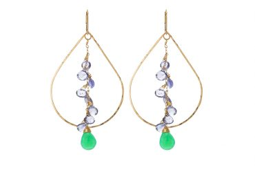 "Large plain teardrop hoop, lolite and Chrysoprase gemstone cluster "". SABINAJEWELRY.COM - Interchangeable jewelry gives you the ability to create your own endless styles, and to mix-and-match your jewelry piece. With a simple interchangeable lever-back, earrings can be made into necklaces and piled onto each other to create different styles."