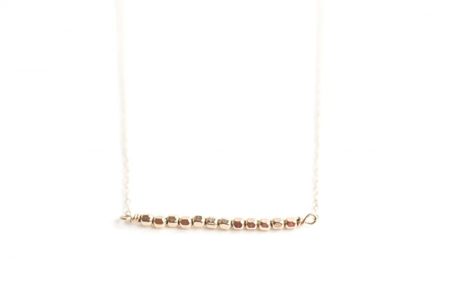 Gold Bead Bar Necklace