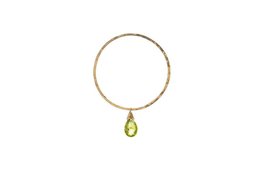 Large Peridot drop hoop