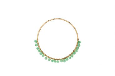 Large hammered gold hoop with wrapped Amazonite rondelle stone detail. SABINAJEWELRY.COM - Interchangeable jewelry gives you the ability to create your own endless styles, and to mix-and-match your jewelry piece. With a simple interchangeable lever-back, earrings can be made into necklaces and piled onto each other to create different styles.