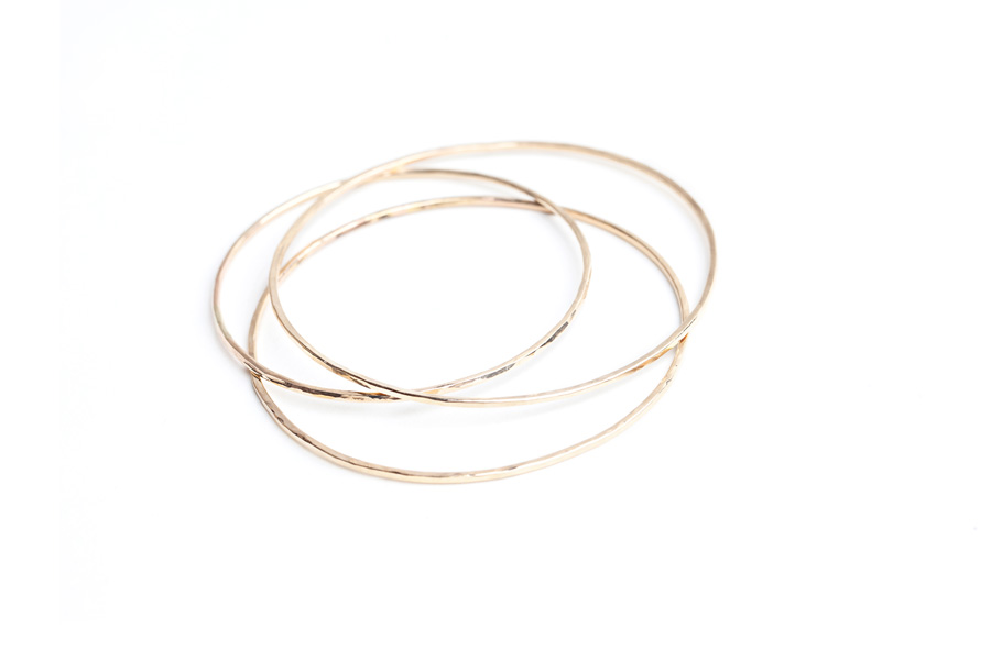 Hammered Bangle by Sabina Jewelry. Gold $50; Silver $40; (sold separately)